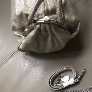 Sondra Roberts Bags - Silver fabric, very unusual and cool satchel bag
